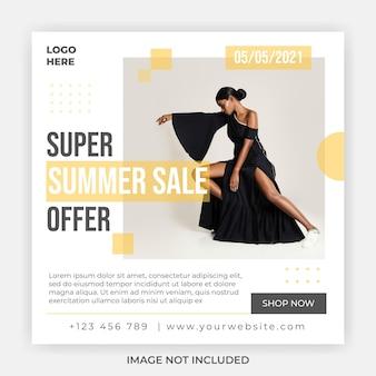 Modèle de publication de bannière carrée de promotion de vente d'été de mode