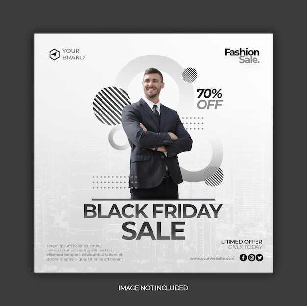 Modèle de publication de bannière instagram de médias sociaux vente vendredi noir ou flyer carré