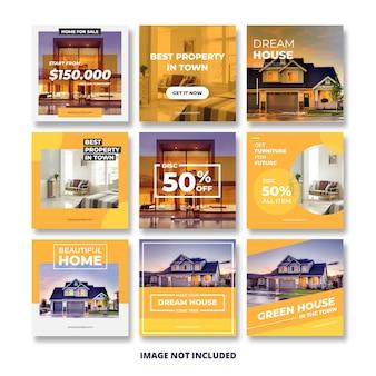 Modèle de publication de bannière de médias sociaux immobiliers