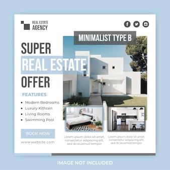 Modèle de publication de bannière de médias sociaux d'offre immobilière