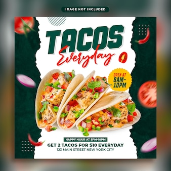 Modèle de publication de bannière de médias sociaux tacos food
