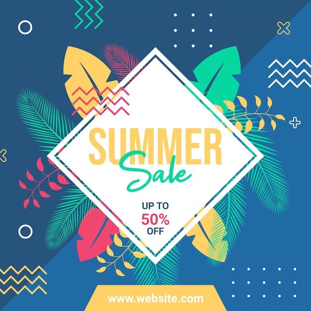 Modèle de publication ou bannière de médias sociaux de vente d'été
