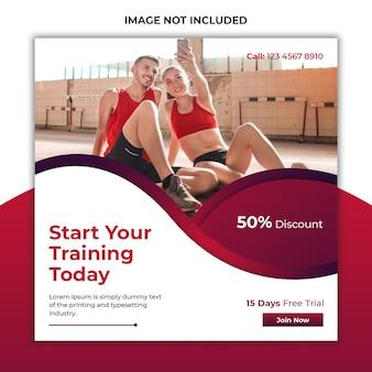 Modèle de publication et bannière de promotion des médias sociaux de gym et de fitness