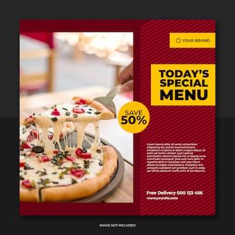 Modèle de publication de bannière de restaurant et de menu alimentaire sur les médias sociaux