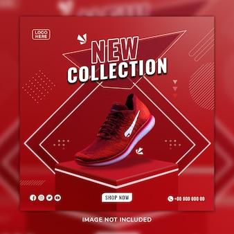 Modèle de publication et de bannière web de chaussures de sport rouges sosial media avec fond 3d