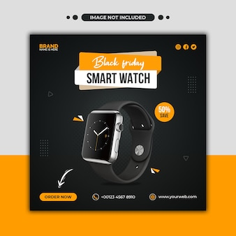 Modèle de publication et de bannière web sur les médias sociaux de promotion de smartwatch vendredi noir