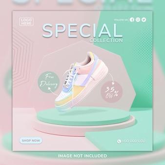 Modèle de publication et de bannière web pour chaussures de sport roses sosial media avec arrière-plan 3d