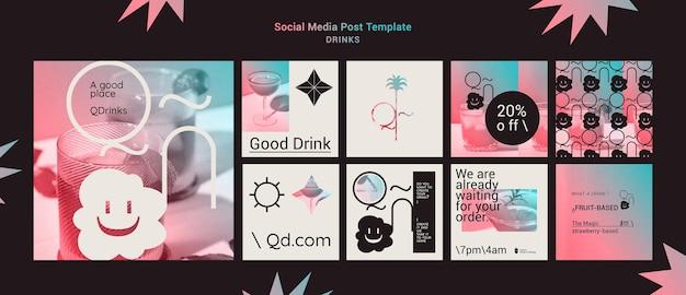Modèle de publication de boissons sur les réseaux sociaux