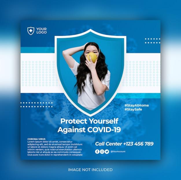 Modèle de publication carrée sur les médias sociaux d'avertissement de coronavirus