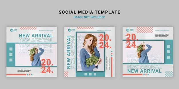 Modèle de publication carrée de médias sociaux de mode