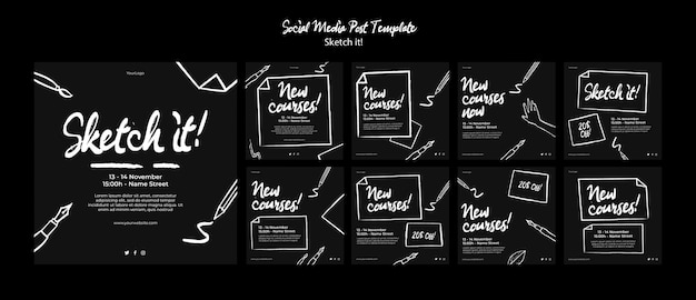 Modèle de publication de concept de croquis sur les médias sociaux