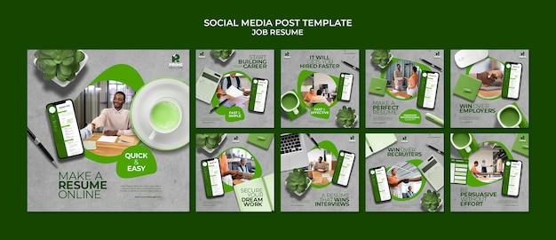 Modèle de publication de cv sur les réseaux sociaux