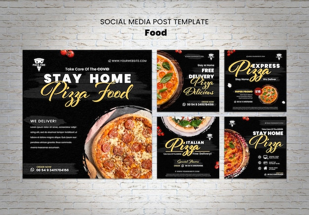 Modèle de publication de délicieux pizza sur les réseaux sociaux