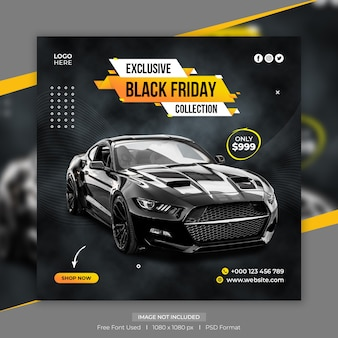 Modèle de publication facebook ou instagram de vente de voitures black friday