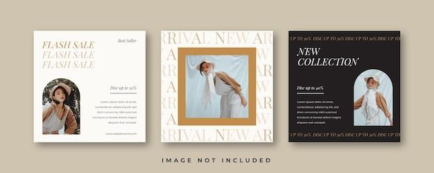 Modèle de publication de flux de médias sociaux esthétique pour les entreprises de mode