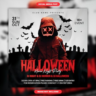 Modèle de publication et de flyer sur les réseaux sociaux pour la soirée d'horreur halloween