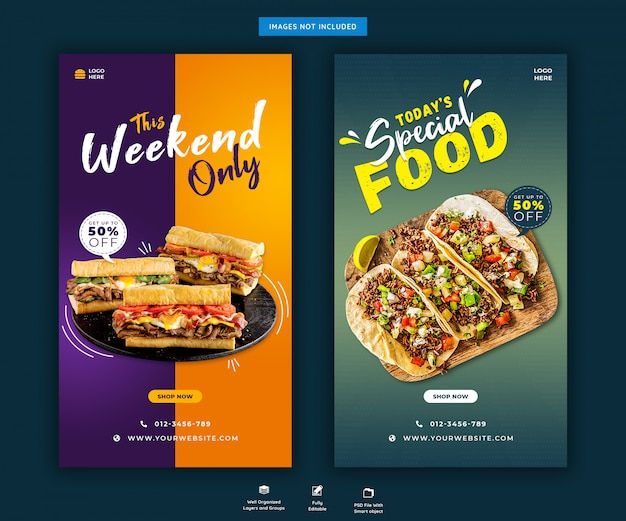 Modèle de publication d'histoires de menu de nourriture de restaurant