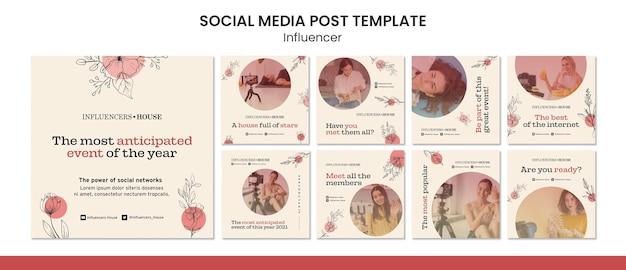 Modèle de publication d'influenceur instagram avec photo