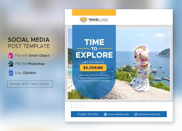 Modèle de publication instagram aventure plate premium psd