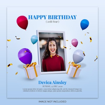 Modèle de publication instagram de bannière de célébration de joyeux anniversaire numérique