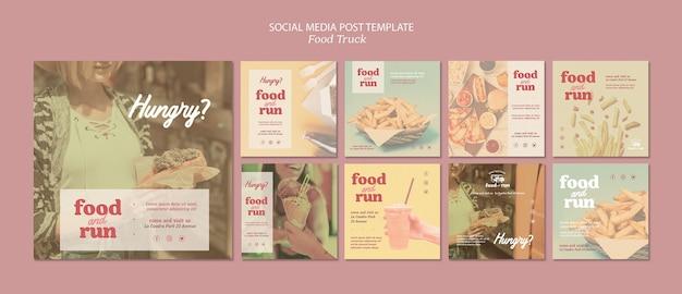 Modèle de publication instagram de camion de nourriture