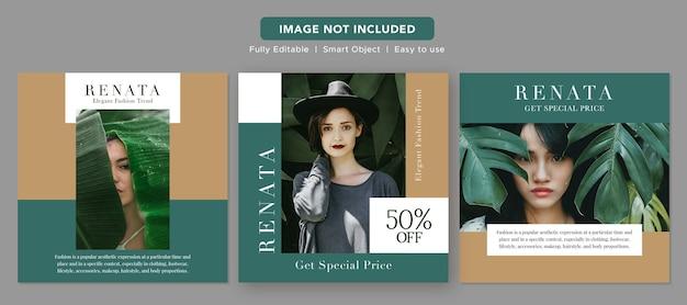 Modèle de publication instagram de conception de bannière promotionnelle de médias sociaux de mode minimaliste vert