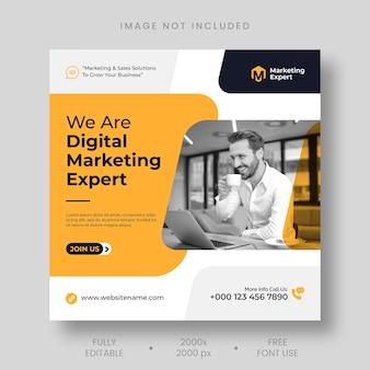 Modèle de publication instagram d'expert en marketing numérique et de bannière de médias sociaux