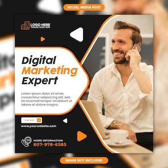 Modèle de publication instagram d'expert en marketing numérique ou de bannière web carrée