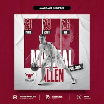 Modèle de publication instagram de flyers de joueur de basket-ball