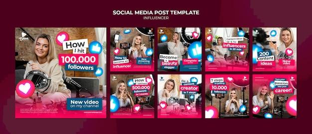 Modèle de publication instagram d'influenceur avec photo