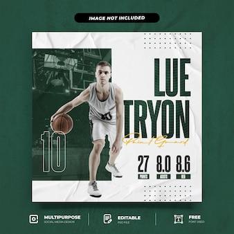 Modèle de publication instagram de joueur de basket-ball