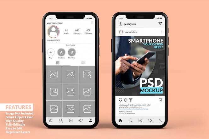 Modèle de publication instagram sur des maquettes de smartphone premium