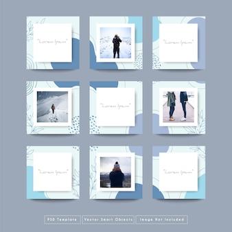 Modèle de publication instagram de médias sociaux dans le style de puzzle de grille
