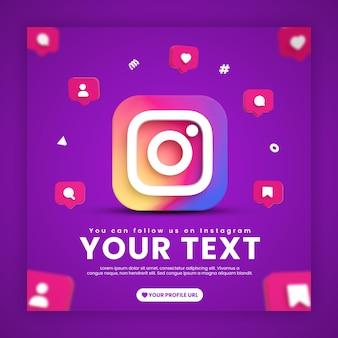 Modèle de publication instagram de médias sociaux avec des icônes