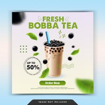 Modèle de publication instagram sur les médias sociaux de thé bobba frais
