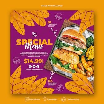 Modèle de publication instagram menu spécial dessiné à la main