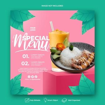 Modèle de publication instagram de menu spécial dessiné à la main