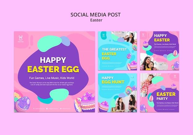 Modèle de publication instagram d'oeuf de pâques coloré