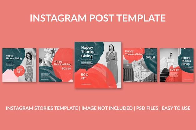 Modèle de publication instagram pour l'événement de thanksgiving à l'aquarelle