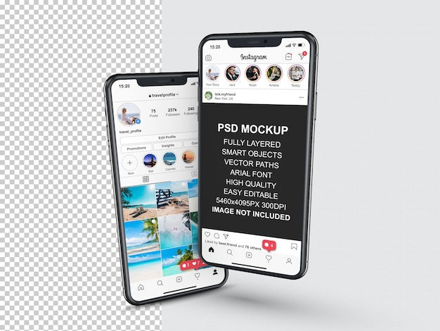 Modèle de publication instagram pour les histoires de profil et de flux sur smartphone. vue en perspective maquette de téléphone mobile