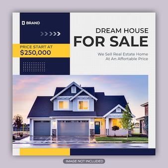 Modèle de publication instagram de propriété de maison immobilière ou de bannière web carrée