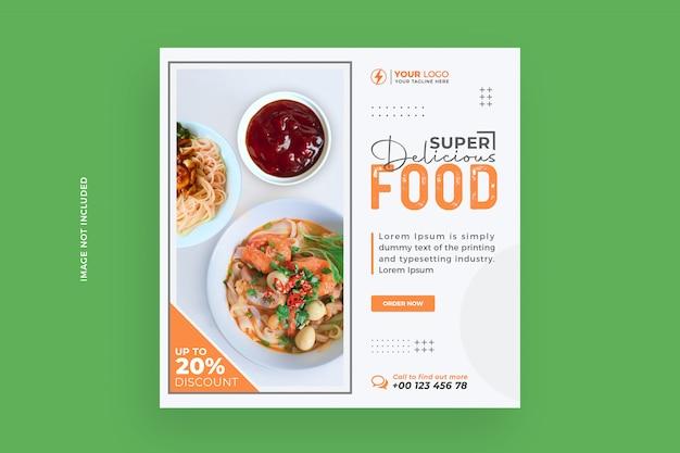 Modèle de publication instagram sur les réseaux sociaux des aliments