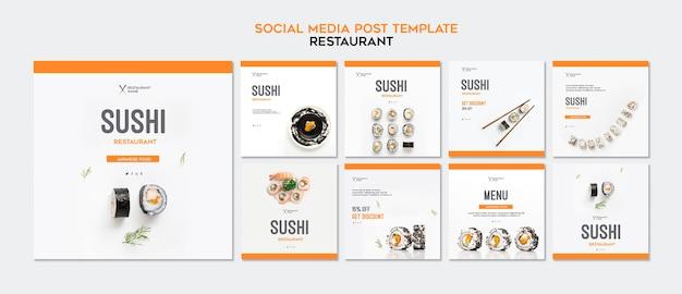 Modèle de publication instagram de restaurant de sushi