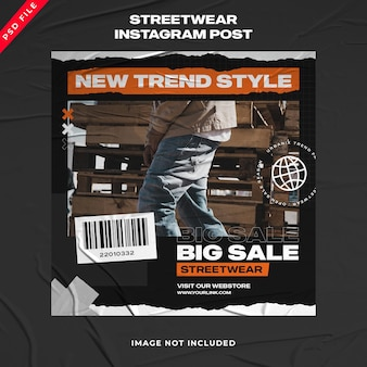 Modèle de publication instagram streetwear de la mode urbaine