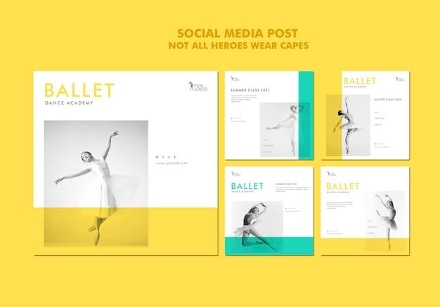 Modèle de publication de médias sociaux de l'académie de danse