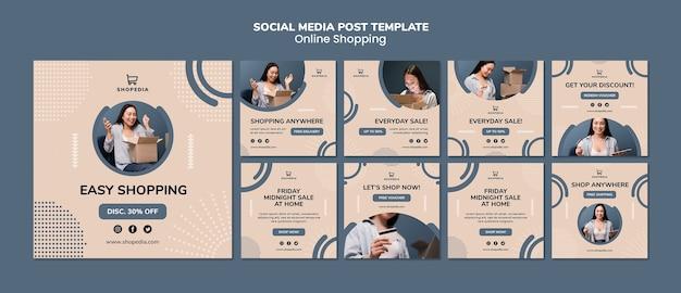 Modèle de publication sur les médias sociaux avec achats en ligne