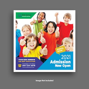 Modèle de publication sur les médias sociaux d'admission à l'école pour enfants