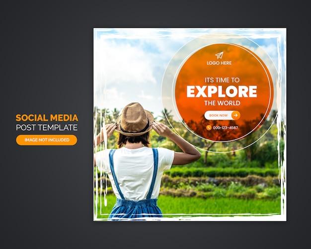 Modèle de publication de médias sociaux d'agence de voyage