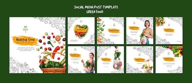 Modèle de publication de médias sociaux sur des aliments sains avec photo
