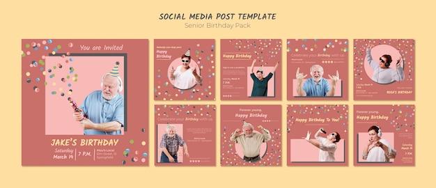 Modèle de publication de médias sociaux d'anniversaire senior